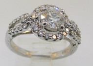 14k White Gold 0.73ct Round Halo Diamond Ring Size 5 /12