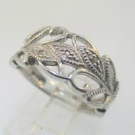 Sterling Silver Diamond Leaf Band RJ Ring Size 6