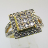 Gold Plated Sterling Silver Diamond Cluster Square Top Halo Ring Size 7