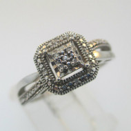 Sterling Silver Square Top Diamond Cluster Halo Ring Size 7
