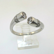 Sterling Ladies Modern Wrap Band Ring Clear CZ Stones Adjustable Size w Hallmark