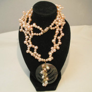 14k Yellow Gold Clasp and Double Strand Pink Pearl Necklace with Shell Pendant 19""