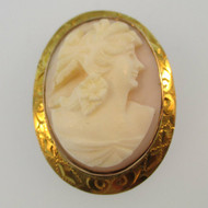Vintage 10k Yellow Gold Coral Cameo Pin Brooch Pendant