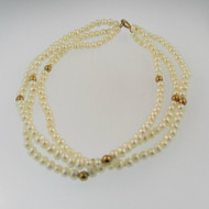 14k Yellow Gold White Pearl Three Tier 7 inch Bracelet with Gold Bead Accents
