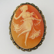 Vintage 800 Silver Conch Shell Cameo with Marquisette Accents Pin Brooch Pendant