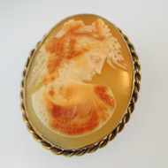 Vintage Gold Filled Conch Shell Cameo Pendant Pin Brooch