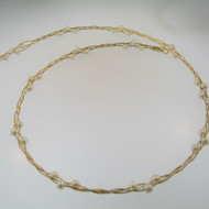 14k Yellow Gold Twisting Necklace Choker with White Pearl Accents 16""