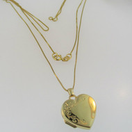 "14k Yellow Gold Heart Shaped Locket with 14k Yellow Gold 18"" Box Chain"