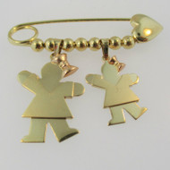14k Yellow Gold Safety Pin Charm with Two Girls with Rose Gold Bows Brooch Pin
