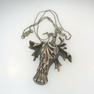 Vintage Sterling Gothic Style Pendant Leaf Marked 2052 on Chain