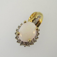 10k Yellow Gold Genuine Opal Pendant with Diamond Halo Accents