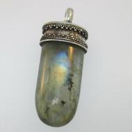 Sterling Silver Labradorite Crystal Pendant