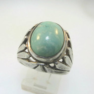 Vtg Sterling Mid-Century Modern Cabochon Sea Green Stone Ring Size 9 Unsigned