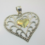 Sterling Silver & 10K Yellow Gold Plated Heart AU Pendant