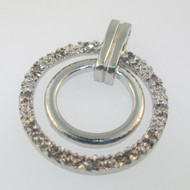 Sterling Silver Diamond Double Circle Circular Pendant