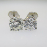 14k White Gold Approx 2.0ct TW Round Brilliant Cut Diamond Stud Earrings