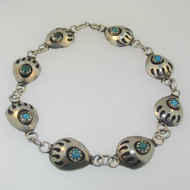 Sterling Silver Turquoise Bear Paw Claw Bracelet 7.5""