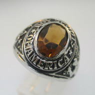 Silver Tone Boy Scouts of America Class Ring with Orange Stone Size 10