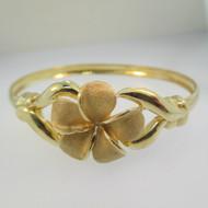 14k Yellow Gold Flower Bangle Bracelet