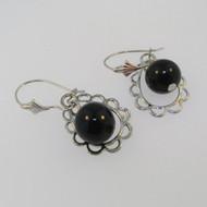 14k White Gold Black Onyx Dangle Earrings