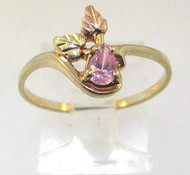 Coleman 10K Yellow & Black Hills Gold Oval Pink Ice Stone Ring Size 7 **