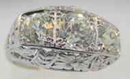 Vintage 1920's Platinum Ring 1.75ct tw. European Cut Center Approx. .75-.8ct Diamond Ring Filigree Band Size 5 ¼*