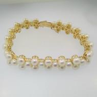 """14k Yellow Gold White Cluster Pearl Bracelet 7"""" Length"""