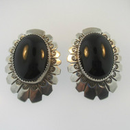 Sterling Silver Large Black Onyx AP Earrings