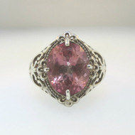 Vintage Sterling STS Art Nouveau Scrolled Oval Cut Pink Topaz Ladies Ring Sz 7.5