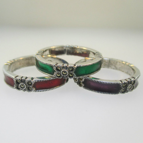 Sterling Silver Marcasite Red Green Purple Enamel Stackable Rings Size 7