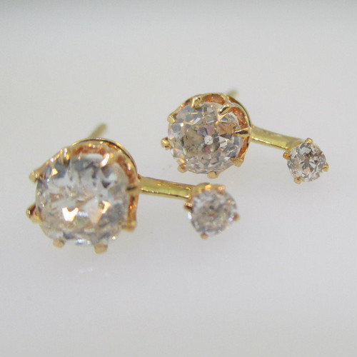 14k Yellow Gold Approx 1.0ct TW Mine Cut Diamond Earrings