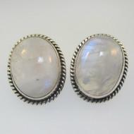 Sterling Silver Oval Moonstone Post Back Earrings