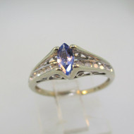 10k White Gold Marquise Cut Tanzanite Ring with Diamond Accents Size 5 1/4