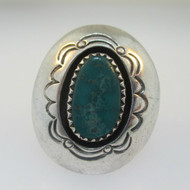 Sterling Silver Oval Cut Turquoise Ring Size 6.5