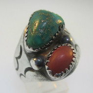 Sterling Silver Green Turquoise Coral VL Ring Size 11.25