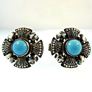 Vintage 900 Sterling Silver and Turquoise Cross Cufflinks (300.1770K CB)