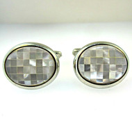 Vintage Silver Tone Mosaic Tile Mother of Pearl Cufflinks (300.1770P CB)