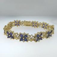Gold Tone Sterling UTC China Locking Bangle Bracelet Purple Amethyst & Clear CZ