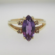 10k Yellow Gold Marquise Cut Purple Amethyst  Ring with Diamond Accents Size 6 3/4