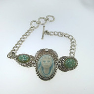 Vtg Sterl Porcelain Nat Amer Cameo & Stone Chip Art Glass Bangle Bracelet Signed