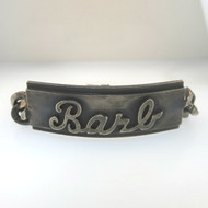 Heavy Vtg Silver or Pewter Tone I.D. Bracelet Barb One Size Toggle Spacer Chain