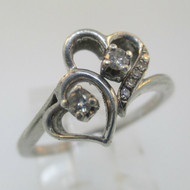 Sterling Silver Diamond Heart Ring Size 6.75