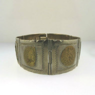 Vtg Sterling Silver 2-Tone Taxco Mexico Hinged Aztec Mayan Symbol Image Bracelet