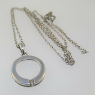 Sterling Silver Diamond Circle Circular Pendant Necklace