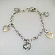 Sterling Silver Diamond Heart Charm Bracelet 7.5""