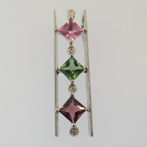 14k White Gold Tourmaline with Diamond Accent Pendant