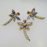14k Yellow Gold Tanzanite Ruby and Diamond Dragon Fly Pendant and Earring Set