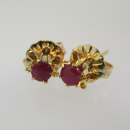 14k Yellow Gold Red Ruby Stud Earrings