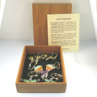 Three Pairs Bamboo Jewelry Sterling & Enamel Cloisonne Clip On Earrings in Box