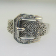 Sterling Silver Diamond Belt Buckle Ring Size 8